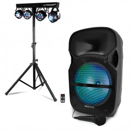 "Enceinte Mobile LED 12""/31cm 600W USB/BT/SD +Mic KOOLSTAR NSX12 + X-Performer 4 PAR DMX"