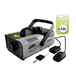 Machine à fumée à 6x3W 3-en-1 LEDs RGB 900W + 2 télécommandes + 10 Litres de liquide
