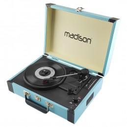 Malette tourne-disques - BT/USB/SD/FONCTION ENREGISTREMENT - Bleu - MADISON RETROCASE-CR