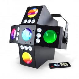 Jeu de lumière 2-en-1 à LED RVBA - DMX - 20 Gobos + Stroboscope - IBIZA LIGHT CROSS-GOBOFX