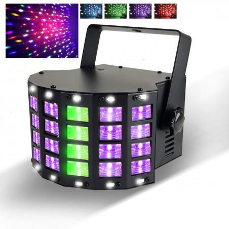 Jeu de lumière Derby Stroboscope - 3 LED RGB + 14 LED Blanches