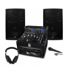 PACK SONO DJ Complet 1200W Ampli Double Lecteur CD