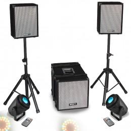 Pack Sono BOOST 1208 Caisson bi-amplifié 800W + 2 satellites +pieds+ 2 Jeux light effet Kaléidoscopique RVB + Blanc + Jaune