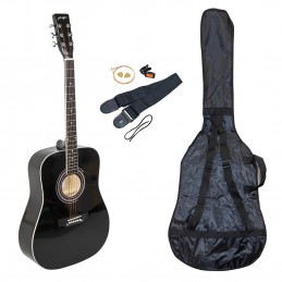 Kit Guitare Acoustique Johnny Brook JB300A Couleur Noir avec sacoche, la sangle, le médiator et les cordes