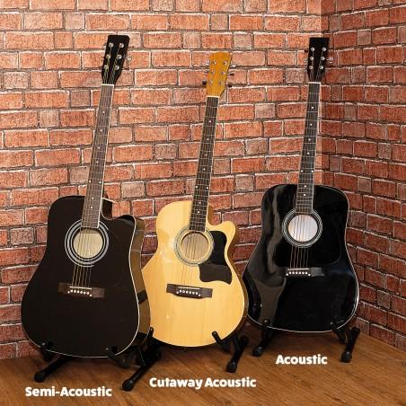 Kit Guitare Acoustique Johnny Brook JB300A Couleur Noir avec sacoche, la sangle, le médiator et les cordes