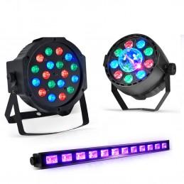 Jeu de lumière-Projecteur PAR LED 18x1W RVB-Projecteur PAR MINI + Dôme ASTRO LED RVB-DMX