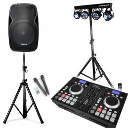 "Enceinte mobile 800W 15"" SD/USB/BT + 2 Micros VHF + Régie DJ Mixage Double lecteur CD/BT UltraStation + Pack X-Performer"
