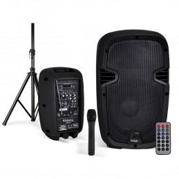 "Enceinte mobile amplifiée 8""/20cm 300W USB/SD/BT + Micro VHF + Pied HYBRID8VHF-BT"