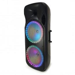 Enceinte autonome double boomer 38 cm 900W - USB/SD/MicroSD/BT/FM + 2 micros sans fil