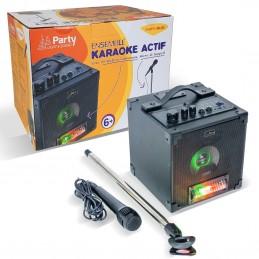 Pack Karaoké Bluetooth avec jeux de lumière, micro et support + Jeu lumière effet ASTRO 4X3W RGBA LED - Batterie