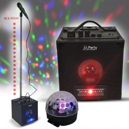 Pack Karaoké Bluetooth Avec Jeux De Lumière Micro Et Support Jeu Lumière Effet Astro 4x3w
