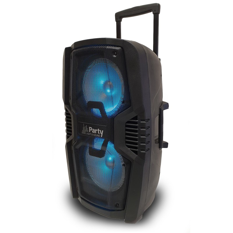 "Enceinte portable PARTY 210LED autonome 2x10"" - 600W - BT/USB/SD + Télécommande"