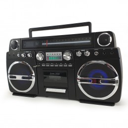 Ghetto-Blaster noir portable Bluetooth avec lecteur CD / Cassette - 60W - USB - Battle-Street