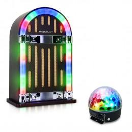 Jubebox Vintage autonome avec Bluetooth - Madison JUKEBOX10 + Jeu lumière effet ASTRO 4X3W RGBA LED - Batterie rechargeable