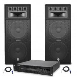 Pack Sonorisation Amplificateur AMP-2000-Mk2 2x1500W +Enceintes Bm SONIC LSB-215 2x2000W + Câbles