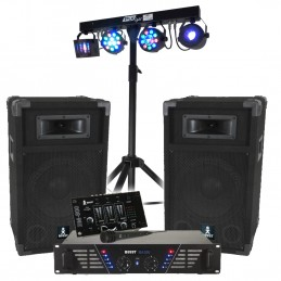 BOOST DJ-300 Pack sonorisation + Portique + 4 effets lumière DMX EUPHORIA