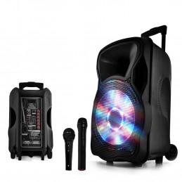 """Enceinte sono mobile amplifiée 700W 12"""" LED/USB/BT/SD/FM + Micros sans-fil/filaire PARTY12"""