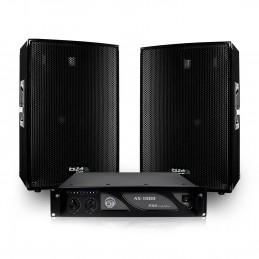 """Pack sonorisation 2 Enceintes passives 12""""/30cm 2x600W + Ampli 1000W + Câbles DISCO1200"""