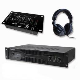 Pack sonorisation amplificateur 700W SA1000 + Table de mixage 3 voies 5 entrées + Casque
