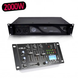 Vexus STM3030 Table de mixage 4 canaux USB/MP3/BT/REC + Ampli AX 2000W