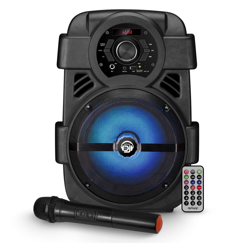 Enceinte autonome MyDj SONIC-08 à LED - 400W - USB/BT/FM/AUX - Télécommande + Micro VHF sans fil