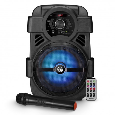independent speaker MyDj SONIC-08 LED - 400W - USB / BT / FM / AUX - Remote + Microphone VHF Wireless