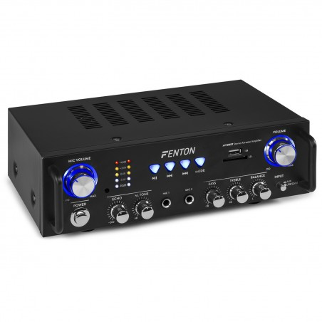 Hifi Stereo Amplifier FENTON AV-100BT Karaoke MP3 USB SD Bluetooth - 2 microphone inputs
