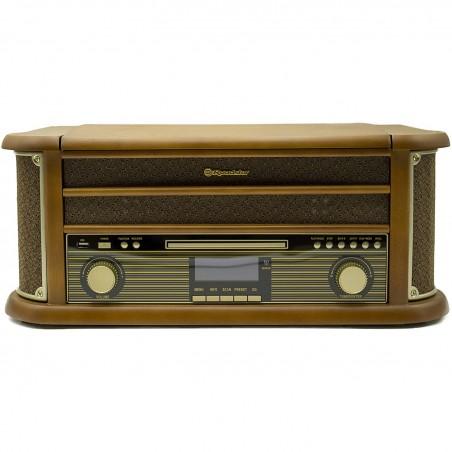 Roadstar HIF-1993BT HiFi rétro Bois avec Tourne-disques (Bluetooth, FM, CD) Couleur Bois