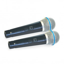 Lot de 2 Microphones de karaoké dynamique Mr Entertainer avec fil 600 Ohm