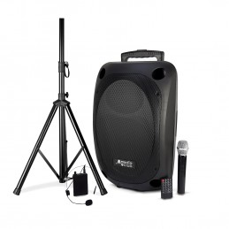 "Enceinte Pro Portative 12"" 350/700W - Audio Club MOOV12 - USB BT Line FM - Batterie - 2 Micros UHF + Support PIED"