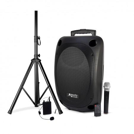 "Portable Speaker Pro 12 ""350 / 700W - Audio Club MOOV12 - USB BT Line FM - Battery - 2 Microphones UHF + Support FOOT"