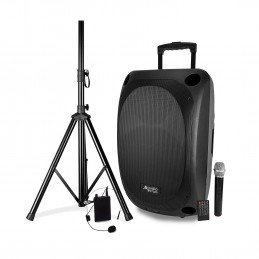 "Enceinte Pro Portative 15"" 400/800W - Audio Club MOOV15 - USB BT Line FM - Batterie - Micros UHF + Support PIED"