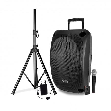 "Portable Speaker Pro 15 ""400 / 800W - Audio Club MOOV15 - USB BT Line FM - Drums - Microphones UHF + Support FOOT"