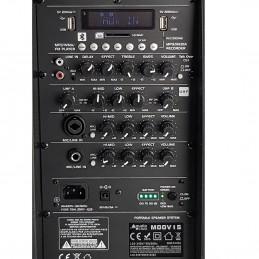 "Enceinte Pro Portative 15"" 400/800W - Audio Club MOOV15 - USB BT Line FM - Batterie - Micros UHF + Support PIED"