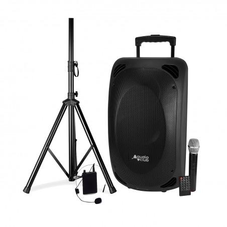 "Portable Speaker Pro 2x8 ""400 / 800W - Audio Club MOOV28 - USB BT Line FM - Drums - Microphones UHF + Support FOOT"