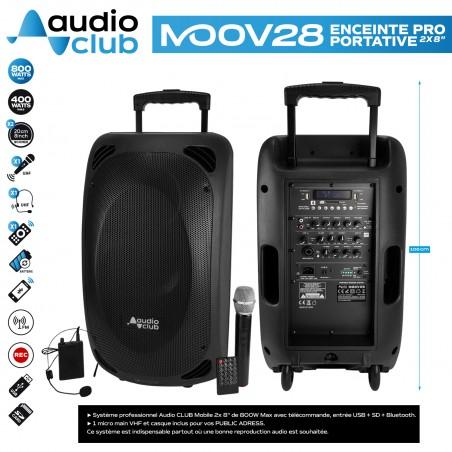 "Enceinte Pro Portative 2x8"" 400/800W - Audio Club MOOV28 - USB BT Line FM - Batterie - Micros UHF + Support PIED"