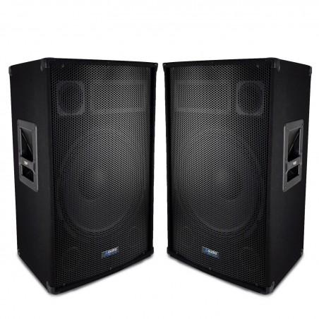 """Pair of speakers Sound Bass Reflex Trapezoidal 3-way 15 """"/ 38cm - 2 x 700W - AUDIO CLUB 15"""