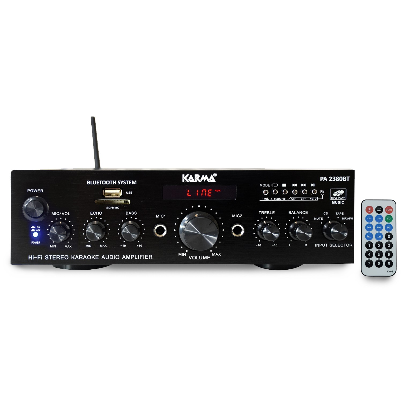 Amplificateur HIFI stéréo 2x 50W avec écran LCD - USB MP3 SD Bluetooth RADIO FM - 2 entrées MICROS - KARMA PA 2380BT