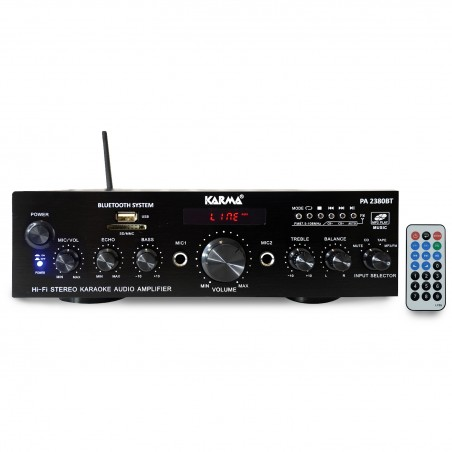 Stereo Stereo amplifier 2x 50W LCD - USB SD Bluetooth MP3 FM RADIO - MICROS 2 entries - KARMA AP 2380BT