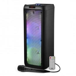 """Enceinte Active - FestiSound SRX208 - 500W - 2x 8"""" à LED - Autonome sur Batterie Bluetooth USB SD TWS - Micro fil"""