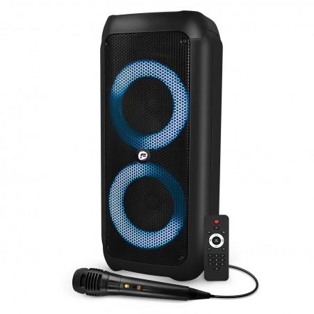 "Active Speaker - FestiSound SKV206 - 6.5 ""2x16cm - 300W - on Battery - RING LED effect - USB Bluetooth SD TWS - Micro"