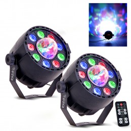 Pack Jeux de lumières - IBIZA LIGHT PAR-ASTRO 2 en 1 projecteur PAR + ASTRO - LED DMX 12W