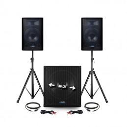 """Pack sonorisation - Audio club BMS1812-USB-BT -  2400W - Sub 18"""" + 2 Enceintes 12"""" + Pieds + Câbles + Tél -"""