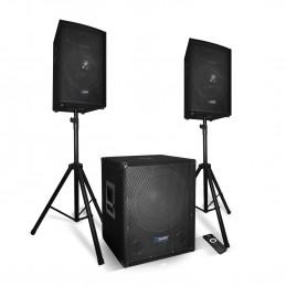 Pack sonorisation - AUDIO CLUB BMS1512 - 2200W - Enceintes + Caisson + Pieds - USB/BLUETOOTH