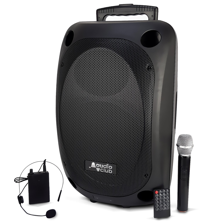 "Enceinte Professionnel Portative 12"" 350/700W - Audio Club MOOV12 - USB Bluetooth Line Radio FM - Batterie - 2 Micros UHF"