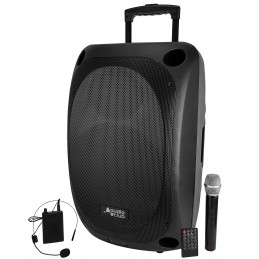 "Enceinte Professionnel Portative 15"" 400/800W - Audio Club MOOV15 - USB Bluetooth Line Radio FM - Batterie - Micros UHF"