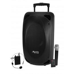 "Enceinte Professionnel Portative 2x8"" 400/800W - Audio Club MOOV28 - USB Bluetooth Line Radio FM - Batterie - Micros UHF"