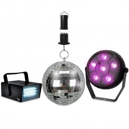 """Pack Jeux de lumlères KOOLSTAR PACKDISCO Mini Strobe 24 LED - PAR SLIM à 6 LED Full couleur - Boule à facettes 16cm 6"""" + Moteur"""