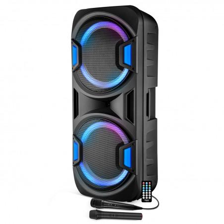 "Speaker sound system mobile 2x15 ""1000W USB / BT / SD + 2 Microphones VHF - Effect Friztal BOXER-215MAGIC"