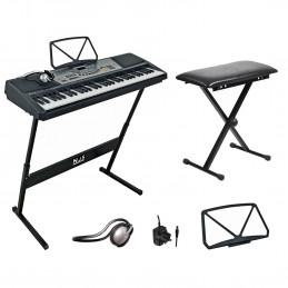 Kit clavier numérique 61 touches + Pieds + Support de Partition + Casque + Tabouret